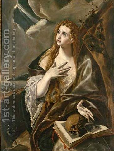 The Penitent Magdalene by (after) El Greco, Domenico - Reproduction Oil Painting
