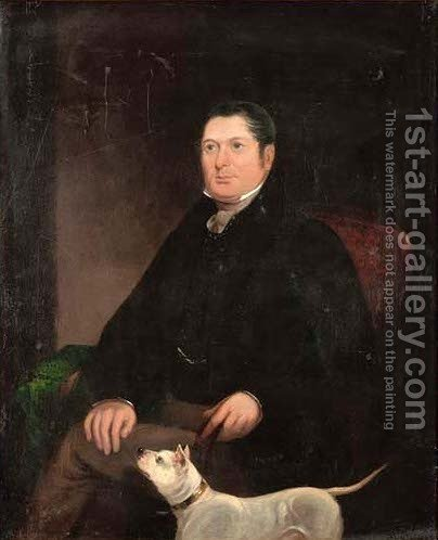 Portrait of a gentleman, seated three-quarter-length, in a black coat, a dog by his side by (after) Dawe, George - Reproduction Oil Painting