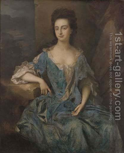 Portrait of a lady, thought to be Mrs Levinz by (after) Dahl, Michael - Reproduction Oil Painting