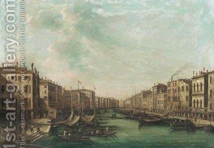 Venice,  A View Of The Grand Canal Looking South-West From The Rialto Bridge To The Palazzo Foscari by (after) (Giovanni Antonio Canal) Canaletto - Reproduction Oil Painting