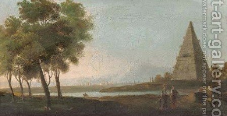 A river landscape with figures in the foreground, a pyramid beyond by (after) Adriaen Manglard - Reproduction Oil Painting