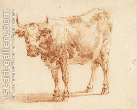 Study Of A Cow by (after) Adriaen Van De Velde - Reproduction Oil Painting