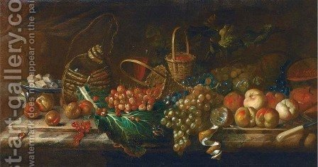 Strawberries, peaches, grapes, melons, redcurrants, a partly-peeled lemon, a dish of cheese, a bottle and glass of wine on a marble ledge by (after) Agostino Verrocchi - Reproduction Oil Painting