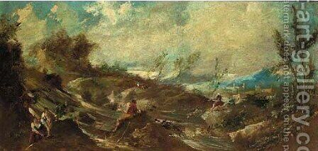 An extensive landscape with fisherfolk by a river by (after) Alessandro Magnasco - Reproduction Oil Painting