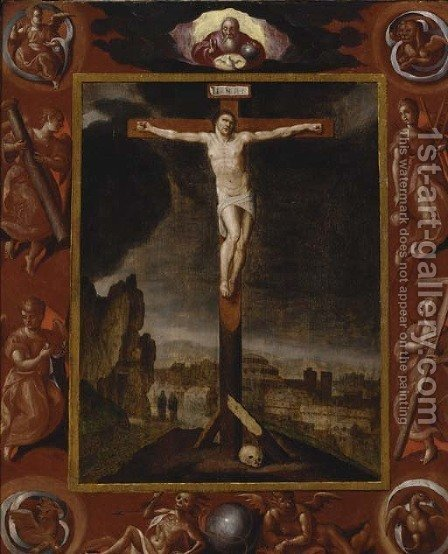 The Crucifixion by (after) Ambrosius Francken II - Reproduction Oil Painting