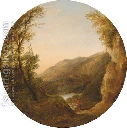 A shepherd in a mountainous lake landscape by (after) Ames Arthur O'Connor - Reproduction Oil Painting