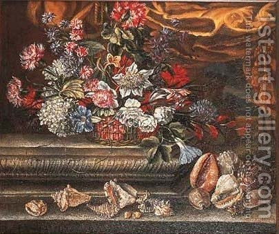 Basket of flowers with shells on stone ledges by (after) Andrea Scacciati - Reproduction Oil Painting