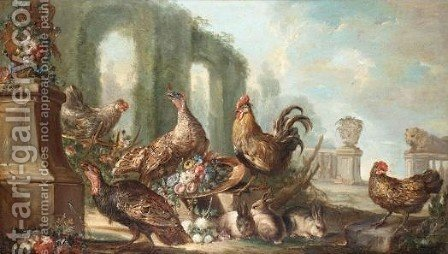 Still Life With Gamebirds In Parkland Landscape 2 by (after) Angelo Maria Crivelli, Il Crivellone - Reproduction Oil Painting