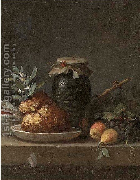 A glass jar of olives, grapes and other fruit on a ledge by (after) Anne Vallayer-Coster - Reproduction Oil Painting