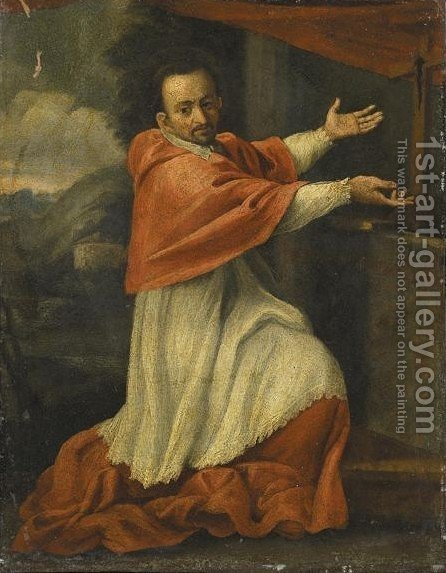 San Carlo Borromeo by (after) Annibale Carracci - Reproduction Oil Painting