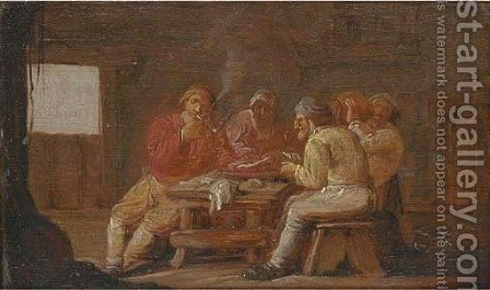 Peasants smoking and drinking in a tavern by (after) Anthonie Victorijns - Reproduction Oil Painting