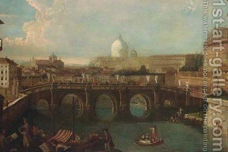 The Tiber, Rome, looking downstream with the Castel and Ponte Sant'Angelo by (after) Antonio Joli - Reproduction Oil Painting