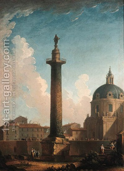 Rome Trajan's Column by (after) Antonio Joli - Reproduction Oil Painting