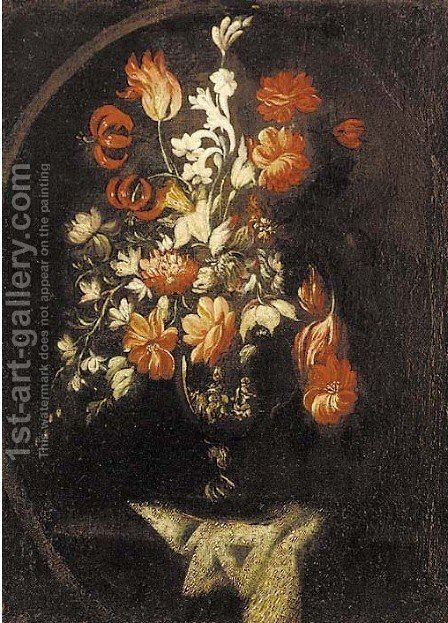 Carnations, daffodils, tulips, irises and other flowers in a sculpted urn on a draped ledge by (after) Bartolome Perez - Reproduction Oil Painting