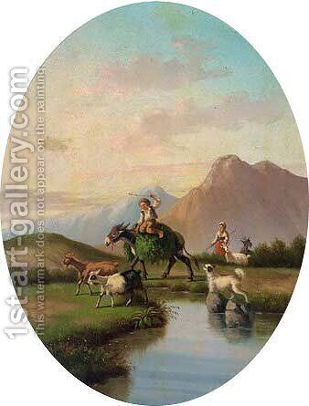 A hay cart in a Alpine landscape by (after) Cesare Uva - Reproduction Oil Painting