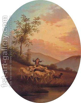 A hay cart in a Alpine landscape 3 by (after) Cesare Uva - Reproduction Oil Painting