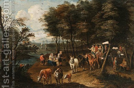 River Landscape with Travellers on Path by (after) Charles Beschey - Reproduction Oil Painting