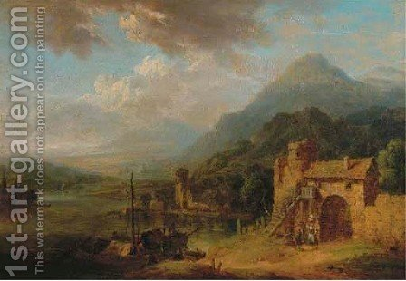 A rhenish landscape with figures conversing by town gate, shipping nearby by (after) Christian Georg II Schutz Or Schuz - Reproduction Oil Painting