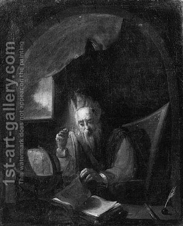 A scholar, seated small half length, at a feigned stone niche by (after) Christian Wilhelm Ernst Dietrich - Reproduction Oil Painting