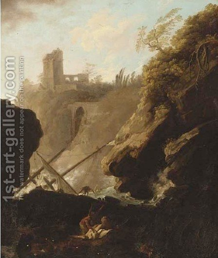 A Mediterranean coastline with shipwreck 2 by (after) Claude-Joseph Vernet - Reproduction Oil Painting