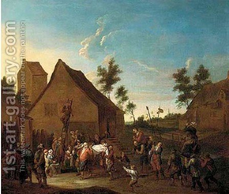 A village kermesse with a drunkard being carried through the streets by (after) David The Younger Teniers - Reproduction Oil Painting
