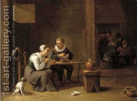 The interior of an inn with peasants smoking, card players beyond by (after) David The Younger Teniers - Reproduction Oil Painting
