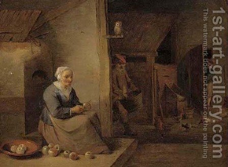 An interior with a woman peeling an apple by (after) David The Younger Teniers - Reproduction Oil Painting