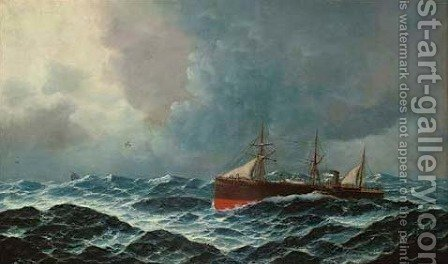 On rough seas by (after) Edward Hoyer - Reproduction Oil Painting