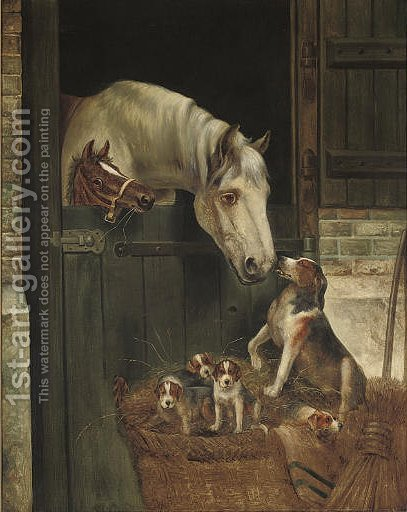 Friends from the hunt by (after) Edwin Douglas - Reproduction Oil Painting