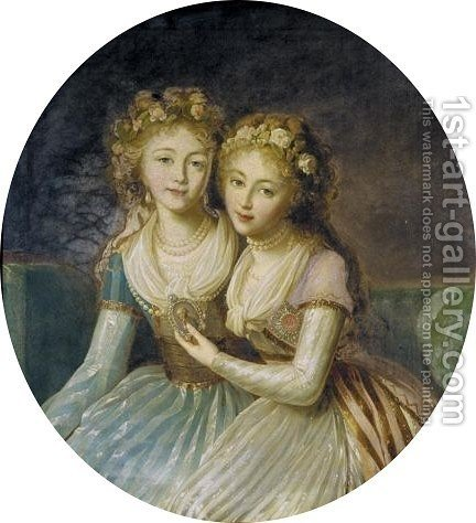 The Russian Empress Katharina II Ordered And Her Eldest Grand-daughter by (after) Elisabeth Vigee-Lebrun - Reproduction Oil Painting