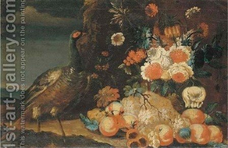A peacock in a wooded landscape with peonies, grapes and peaches by (after) Felice Fortunato Biggi: - Reproduction Oil Painting