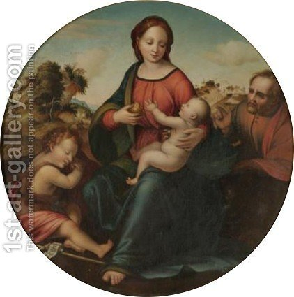 The Madonna And Child With The Infant Saint John The Baptist by (after) Francesco Franciabigio - Reproduction Oil Painting