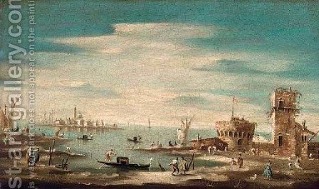 A capriccio of Santa Maria della Salute, Venice, from across the lagoon by (after) Francesco Guardi - Reproduction Oil Painting