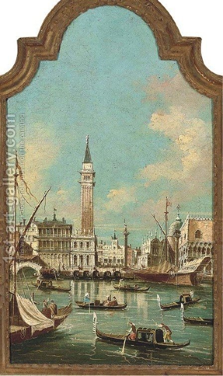 The entrance to the Grand Canal, Venice, with the Doge's Palace, St. Mark's Cathedral and the Piazzetta by (after) Francesco Guardi - Reproduction Oil Painting