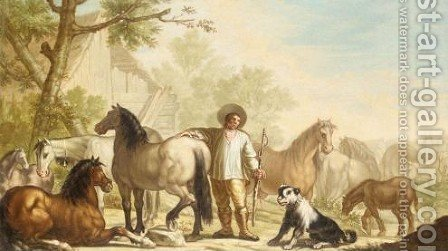 Landscape With A Stablehand With His Horses by (after) Francesco Londonio - Reproduction Oil Painting
