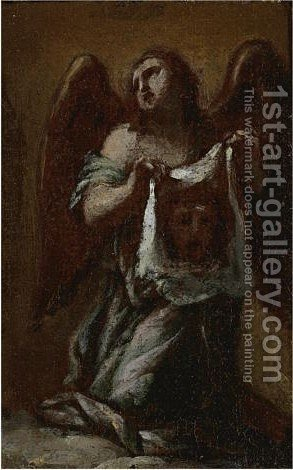 Angel Holding Veronica's Veil by (after) Francesco Trevisani - Reproduction Oil Painting