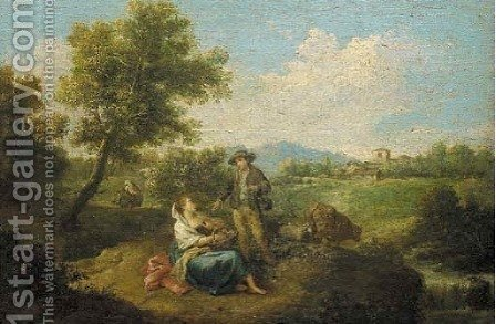 Travellers resting in pastoral landscepe by (after) Francesco Zuccarelli - Reproduction Oil Painting