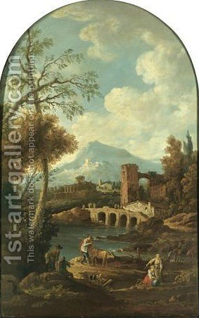 A Southern Landscape With Herders Resting On A Riverbank, Classical Ruins Beyond by (after) Francesco Zuccarelli - Reproduction Oil Painting