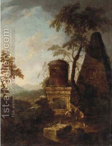 A Classical landscape with figures resting near ruins by (after) Franz Ferg - Reproduction Oil Painting