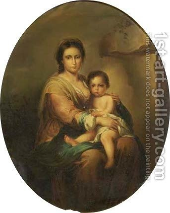 The Madonna and Child by (after) Franz Von Lenbach - Reproduction Oil Painting