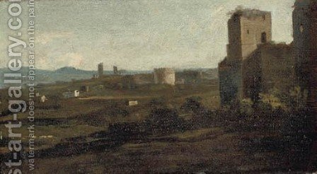 A view of the Circus of Maxentius, Rome by (after) Gaspard Dughet - Reproduction Oil Painting