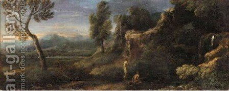 Classical Landscape With Figures Beside River by (after) Gaspard Dughet - Reproduction Oil Painting