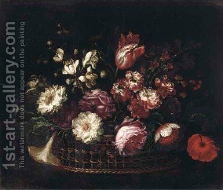 Roses, tulips, carnations and other flowers in a basket by (after) Gasparo Lopez - Reproduction Oil Painting