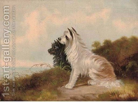 Two well-behaved terriers by sea by (after) George Armfield - Reproduction Oil Painting