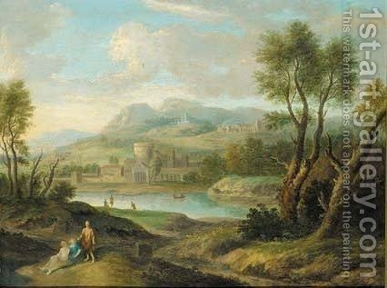 Figures in a classical lake landscape by (after) George Lambert - Reproduction Oil Painting