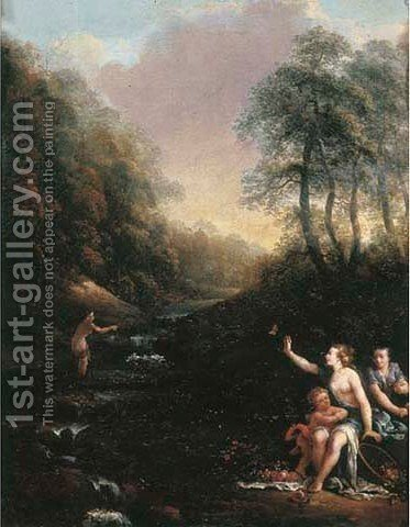 A wooded landscape with nymphs and putti bathing by (after) Gerard De Lairesse - Reproduction Oil Painting