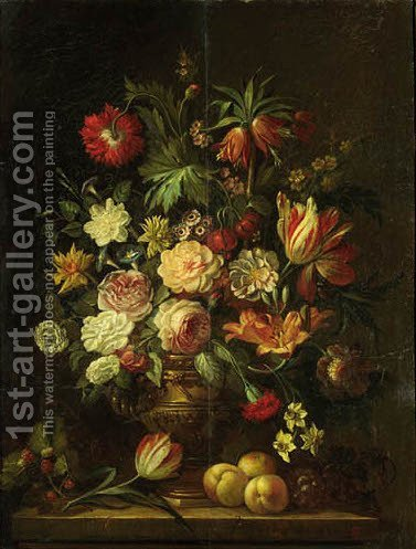 Roses, carnations, tulips, lilies and other flowers in a metal vase with raspberries, grapes, peraches and a tulip on a stone ledge by (after) Gerard Van Spaendonck - Reproduction Oil Painting