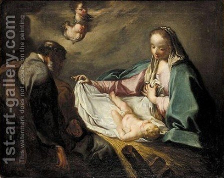 The Holy Family And Angels by (after) Giambattista Pittoni - Reproduction Oil Painting