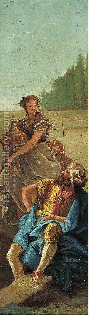 A seated man and a woman with a jar by (after) Giovanni Battista Tiepolo - Reproduction Oil Painting