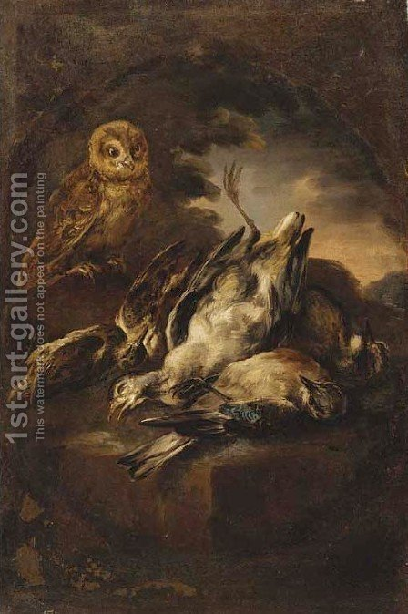 An owl and dead game in a landscape by (after) Giovanni Crivelli, Called Il Crivellino - Reproduction Oil Painting